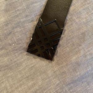 Dark Brown Leather Burberry Men's Belt